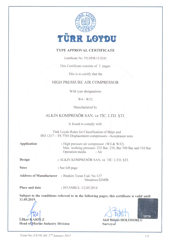 Alkin certificati